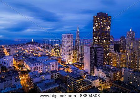 San Francisco Financial District Aerial View