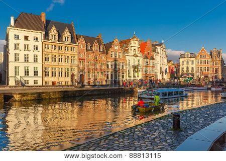 Tourist boat near Quay Korenlei, Ghent, Belgium