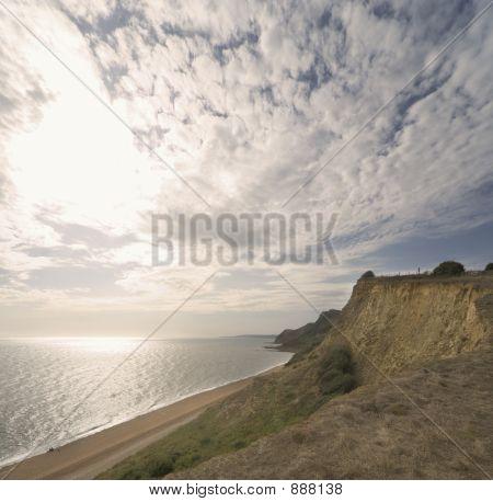 Sky, Cliff, Cliffs, Sea, Water, Clouds, Beach