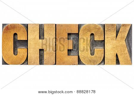 check word typography - isolated tet in vintage letterpress wood type