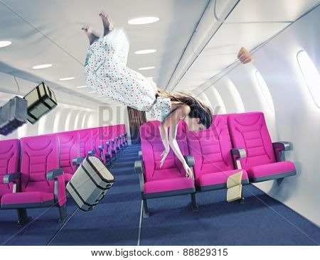Flying  girl in an airplane. Creative concept