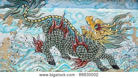 Old Painting Dragon On The Wall