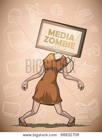 Media zombie with flat screen Tv instead of the head