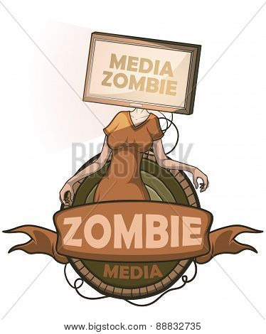 Media zombie with flat screen Tv instead of the head. Label isolated