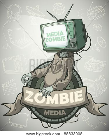 Media Zombie With A Tv Instead Of A Head. Label