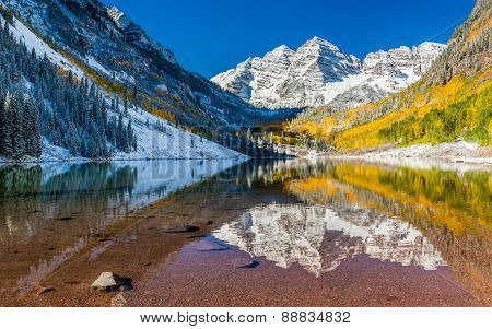 Panorama View Of Maroon Bells National Park In Falls, Aspen, Colorado