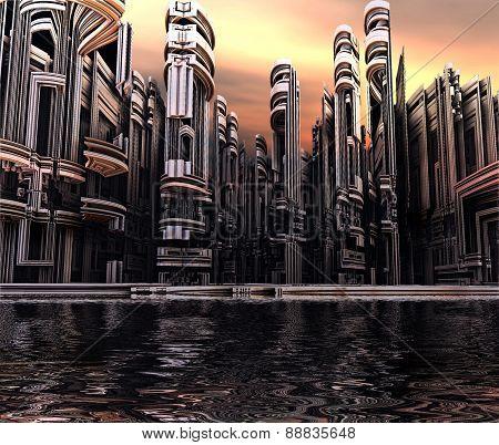 3D render of virtual city landscape