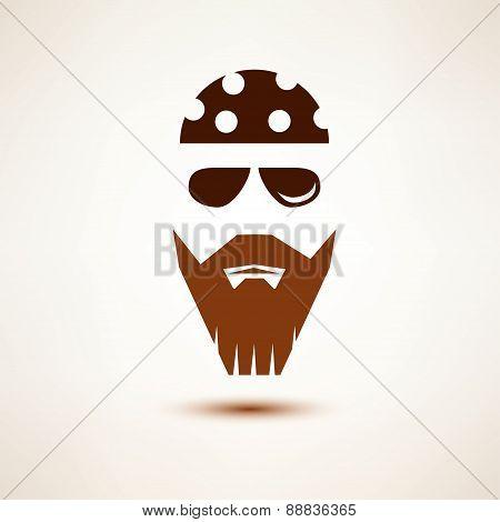 biker or rocker vector symbol stylized icon poster