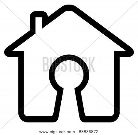 Keyhole On Home Icon