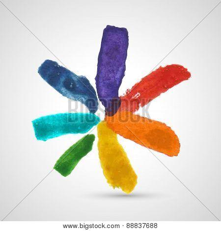 Vector Abstract Multicolor Watercolor Flower