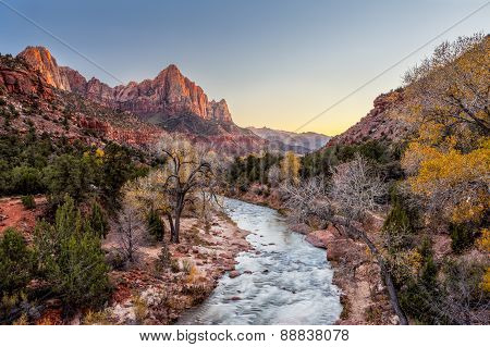 Beautiful Scene Of Zion National Park , The Watchman At Sunset, Utah
