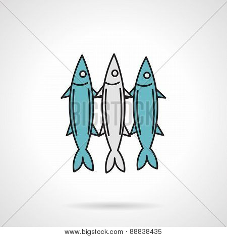 Flat vector icon for fish
