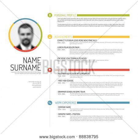 Vector minimalist cv / resume template - minimalistic colorful version