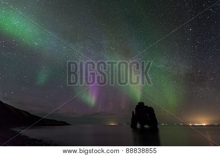 Northern Light At Hvitserkur, Iceland