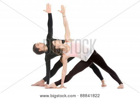 Yoga With Partner, Extended Triangle Pose