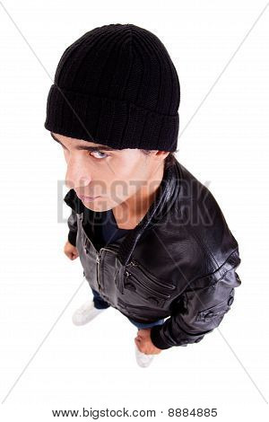 Handsome Man With A Hood View From Above; Isolated On White Background. Studio Shot