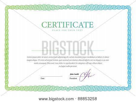 Certificate. Vector pattern that is used in currency and diplomas poster