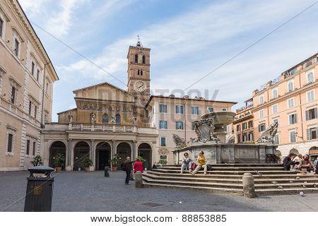 The Basilica Of Our Lady In Trastevere Basilica Di Santa Maria In Rome, Italy