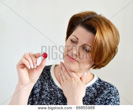 Adult Woman With A Sore Throat