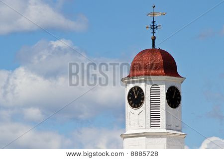 Clock tower copper roof and weather vane