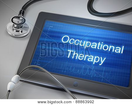 Occupational Therapy Words Displayed On Tablet