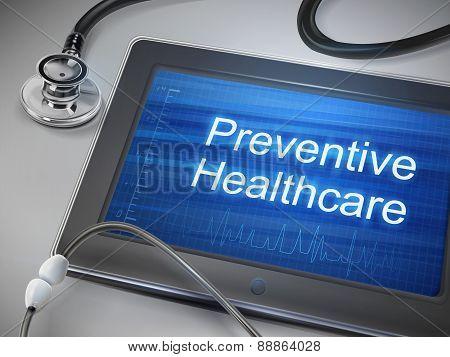 Preventive Healthcare Words Displayed On Tablet