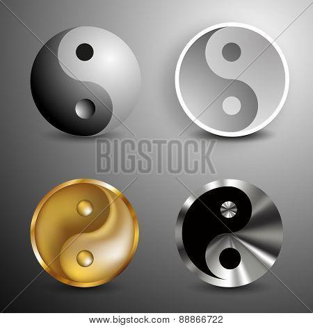 Yin and Yang symbols set. Vector Illustration poster