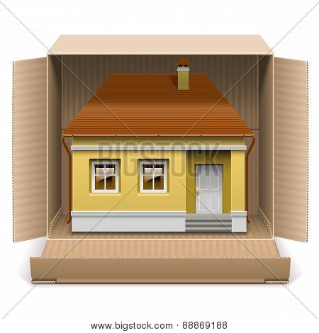 Vector House In Carton Box