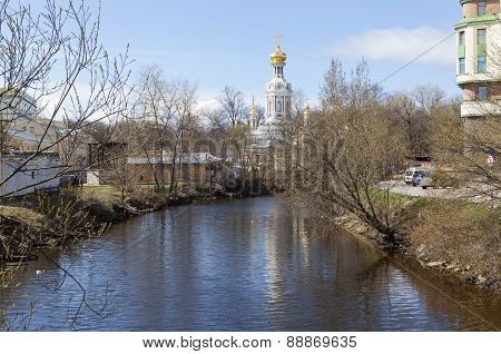 Smolenka River and Church of the Resurrection. St. Petersburg.
