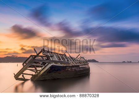The Ship Capsized Sunrise Phuket Thailand 1
