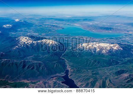Aerial View of Provo Utah with River Valley and Utah Lake