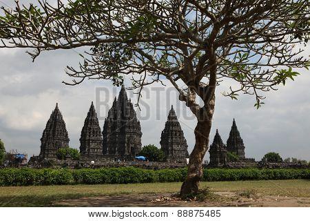 YOGYAKARTA, INDONESIA - AUGUST 4, 2011: Tourists visit the Prambanan Temple near Yogyakarta, Central Java, Indonesia.