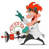 mad scientist with laser. Vector illustration. mad physicist poster