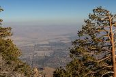 View of The valley from the top of the San Jacinto Mountains in California with a very dense and thick smog layer poster