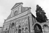 Florence (Firenze Tuscany Italy): the medieval church of Santa Maria Novella. Black and white poster