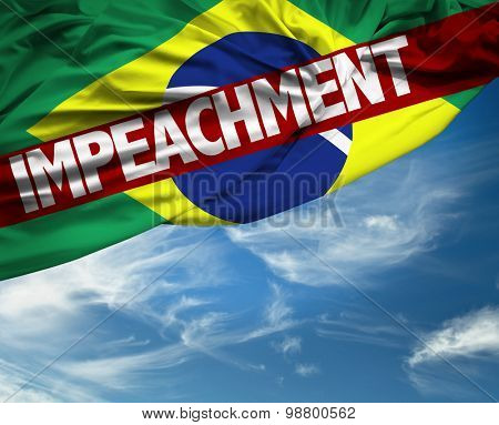 Brazilian flag with Impeachment sign