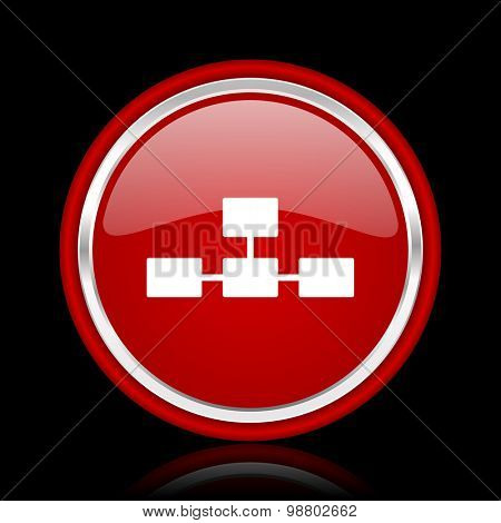 database red glossy web icon chrome design on black background with reflection