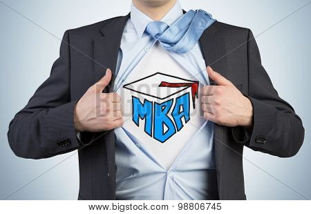 Successful Young Student Is Tearing The Shirt. Business Education Icons Are Drawn On The Chest. A Co