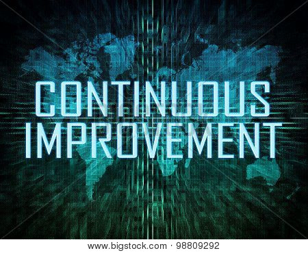 Continuous Improvement text concept on green digital world map background poster