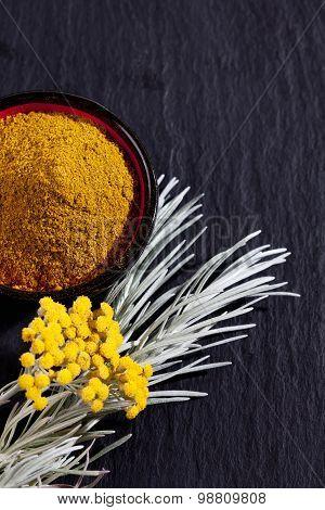 Italian Everlasting , Helichrysum Italicum, Curry Plant, Bowl With Curry Powder