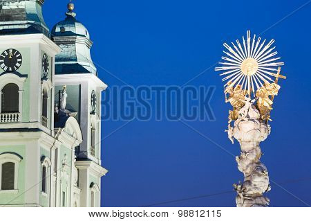 Austria,linz,old Cathedral With Trinity Column