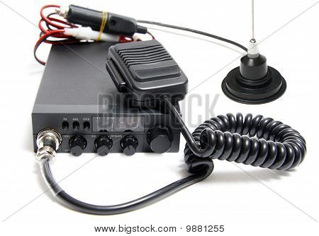 CB radio with microphone on white background poster
