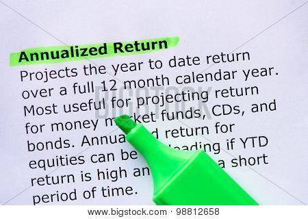 Annualized Return