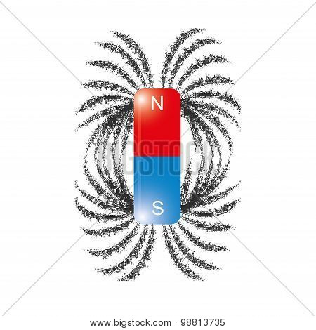 iron filings magnetic field lines vector