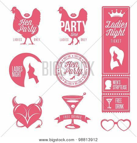 Hen party design elements set. Ladies night stamps, signs and symbols.
