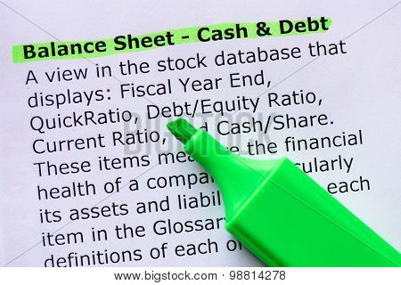 Balance Sheet - Cash & Debt words highlighted on the white background poster
