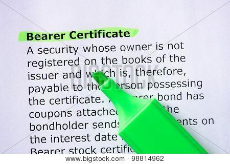 Bearer Certificate
