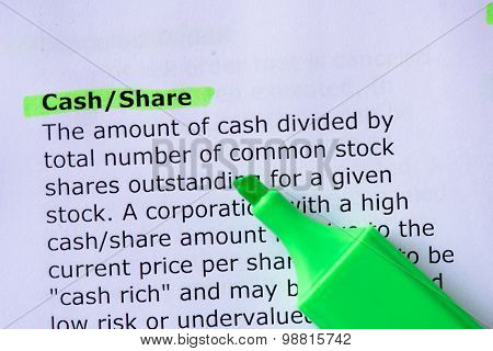 Cash/Share words highlighted on the white background poster