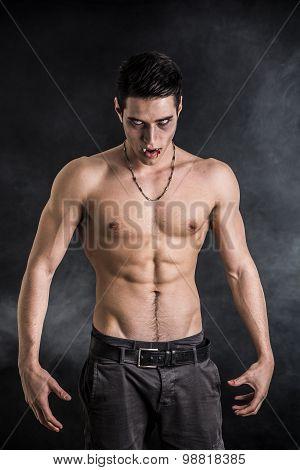 Young Vampire Man Shirtless, Gesturing to Camera
