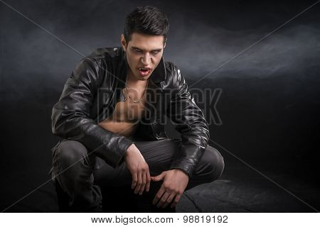 Young Male Vampire in Black Leather Jacket